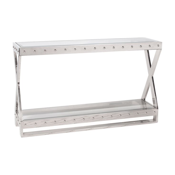 Worlds Away  Rectangular Studded Nickel Plated Console With Beveled Glass  Tops.