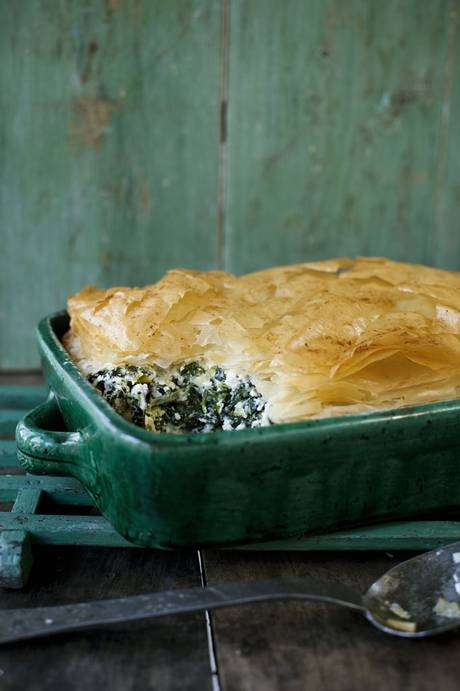 Cheese-and-greens filo pie