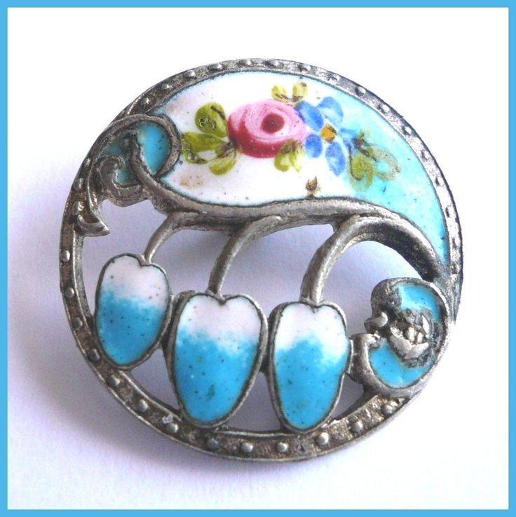 Vintage Enamel Button Beautiful Colors 3/4