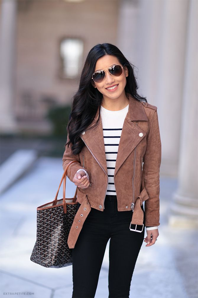 Camel brown suede jacket - super versatile! Did a classic pairing here with stripes + black jeans.