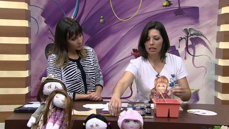 Mulher.com 04/07/2014 Bete Alcantara - Pintura tecido rosto de boneca Pa...