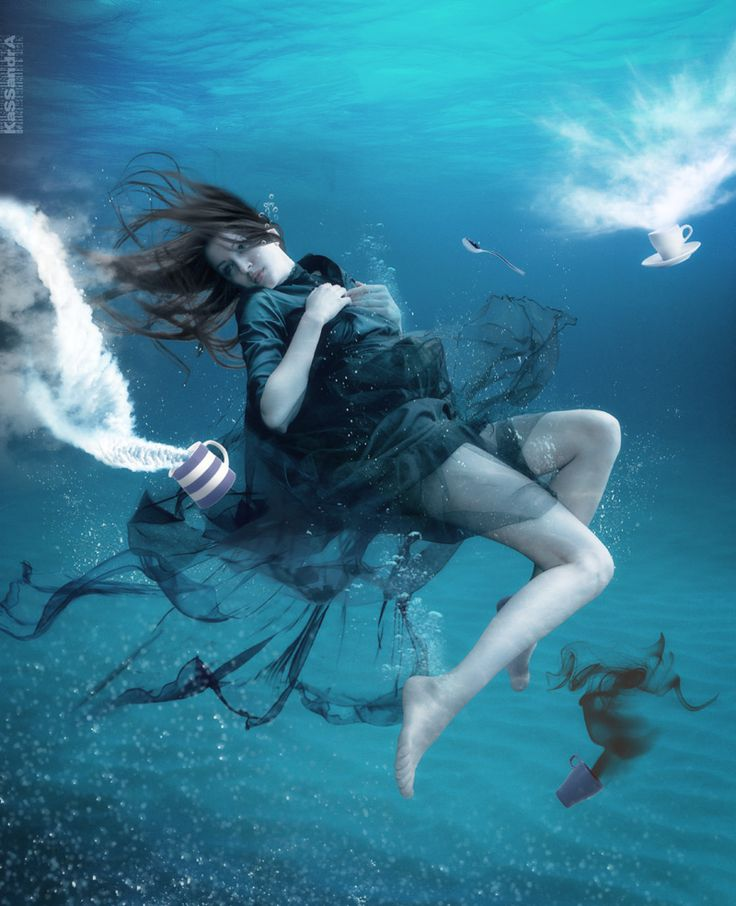 Underwater coffee Photo  (underwater, girl, female, woman, surrealism)