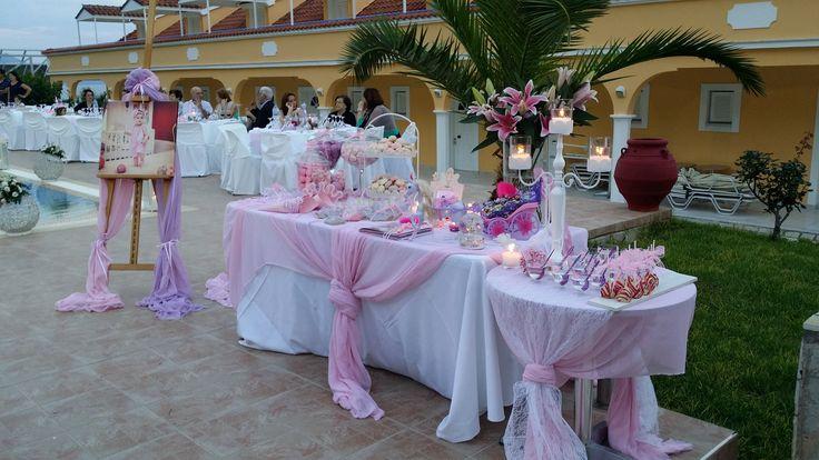 τραπεζι ευχων βαπτισης κοριτσι Baptism wishes table in Lefkada Greece pink and purple theme