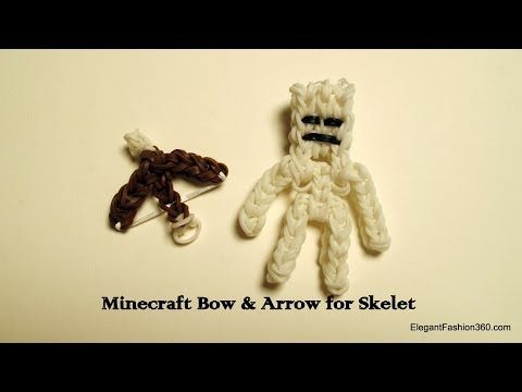 How to make rainbow loom minecraft bow and arrow for skeleton - YouTube