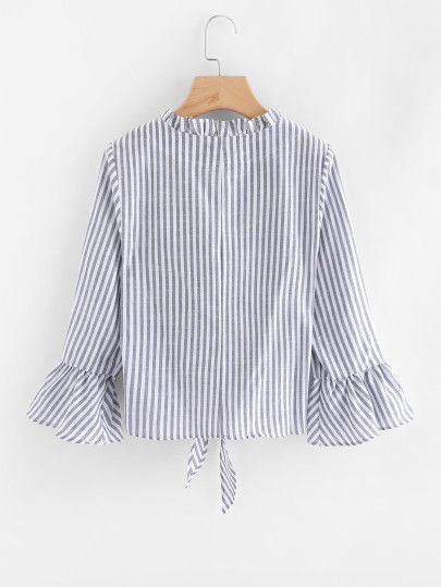 Contrast Striped Knotted Hem Frill Blouse -SheIn(Sheinside)