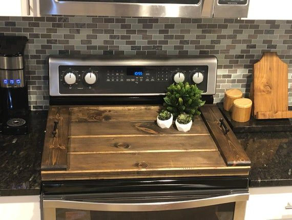 Raised Wooden Stovetop Cover Gas Electric Flattop Stoves Etsy Kitchen Decor Flat Top Stove Stove Top Cover