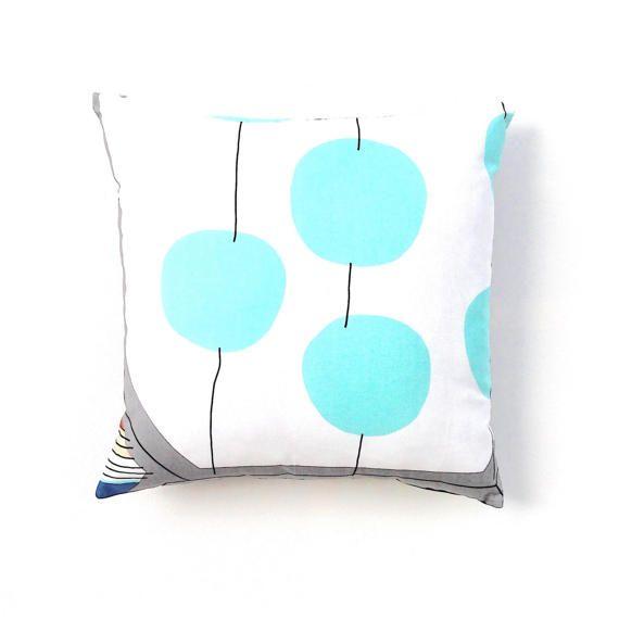 Turquoise Pillow Cover. Marimekko Throw Pillow. Turqoise