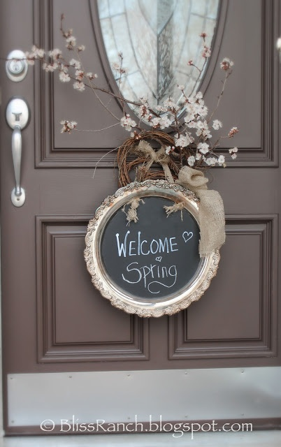 DIY : Old silver tray painted with chalkboard paint or contact paper.