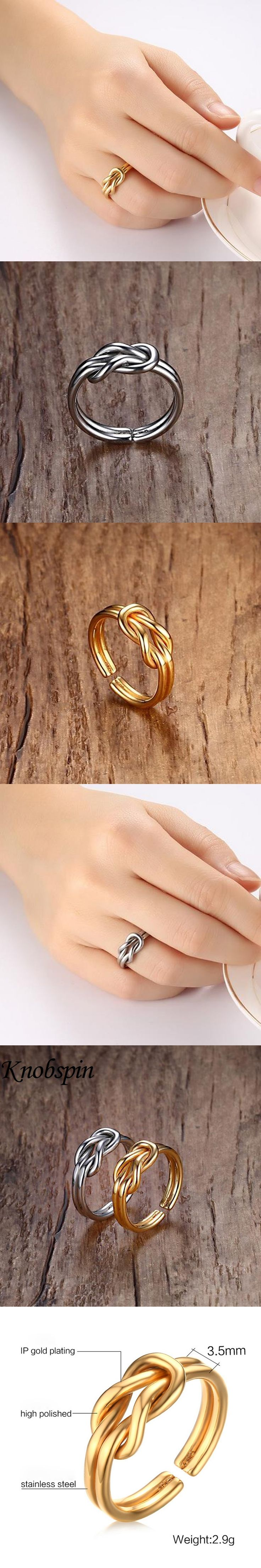 Gold color Bowknot Ring Simple bague femme 316L Stainless Steel women Jewelry Wedding Rings High quality Titanium jewelry