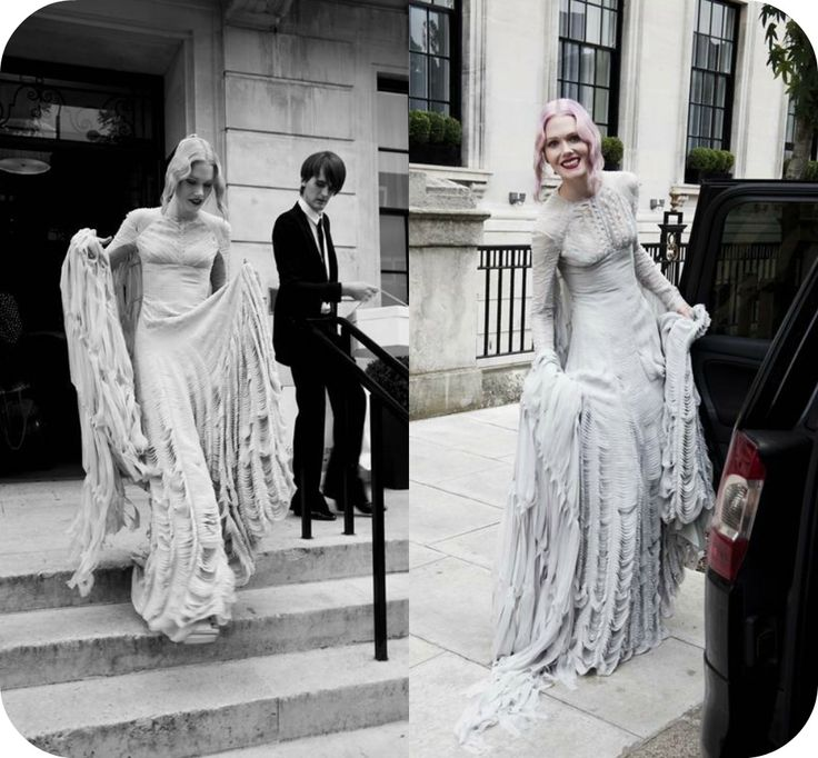 Stylist Katie Shillingfords Custom Gareth Pugh Wedding Dress Made Up Of Layer Upon Shredded Pale Grey Chiffon A Special Designed