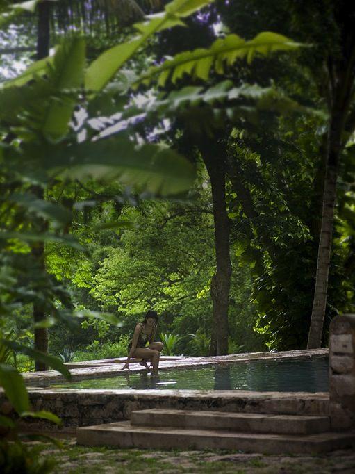 stone wall swimming pool