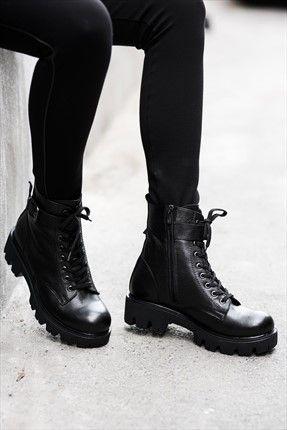 Milla by trendyol · Ayakkabı & Çanta  - Hakiki Deri Siyah Bot MLAAW161111 %50 indirimle 129,99TL ile Trendyol da