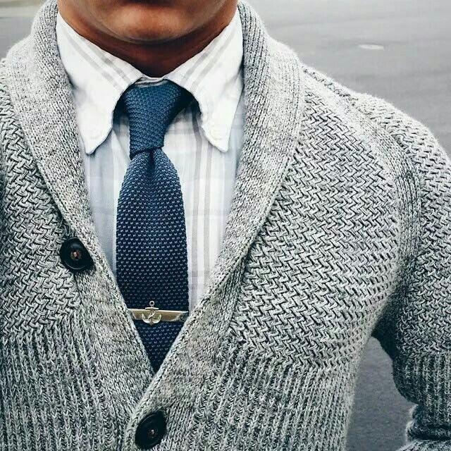 Knit tie with cardigan. Neat.