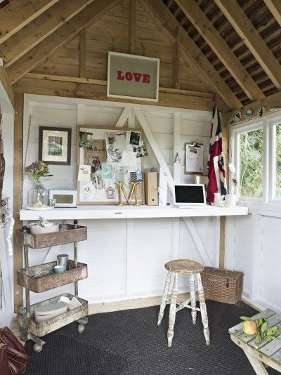 100 best images about shed interiors on pinterest for Shed office interior