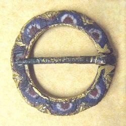 "Copper enamel, circa 13-14th century, found in Lincolnshire, 22mm (about 7/8"")"