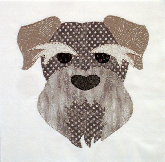 Silver Schnauzer Appliqued Quilt Block by zizzybob on Etsy