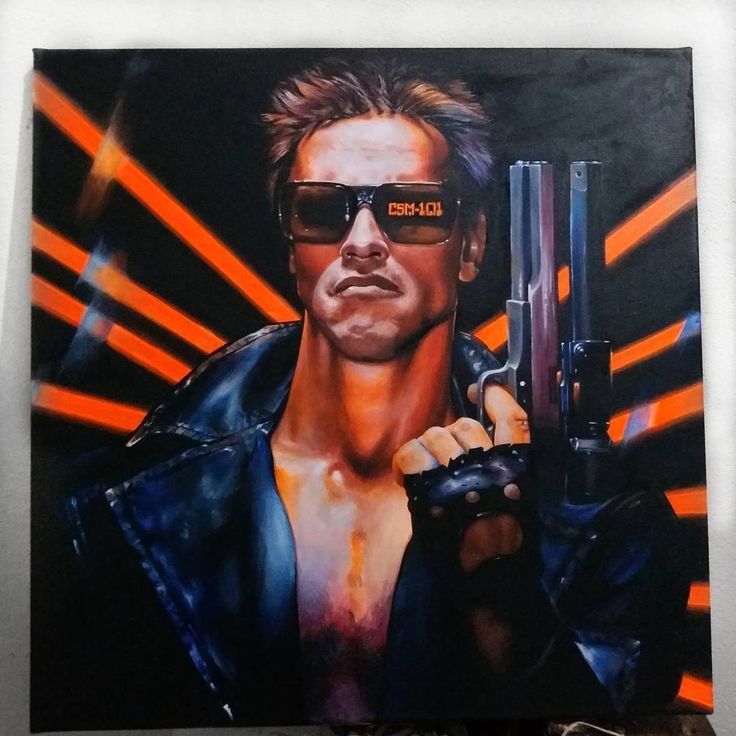"""15 Me gusta, 4 comentarios - Angie (@harddcandy) en Instagram: """"hey arnold ! #terminator #arnold #finished #painting #art #acrylic #drawing"""""""