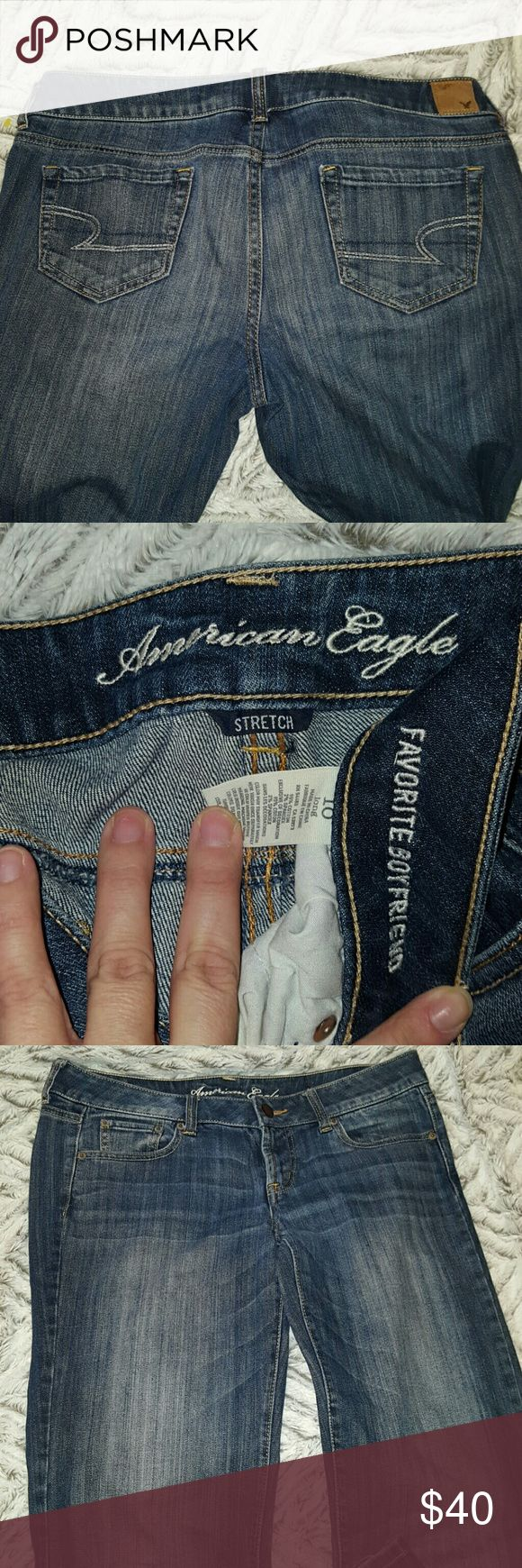 FAVORITE BOYFRIEND STRETCH Jeans American Eagle 10 long length ~  98% cotton 2% spandex ~ these were only wore for about 2 hours in a fashion show. They are in like new condition and very comfortable. Lighter wash down legs and light wash in back herl area as purchased from American Eagle. A highly favorite sell out style. Grab them quick. I ship daily. American Eagle Outfitters Jeans Boyfriend