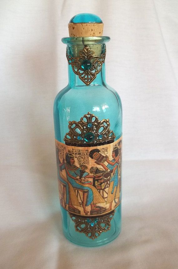 Egyptian Large Blue Decorative Glass Bottle by thecurioddityshop