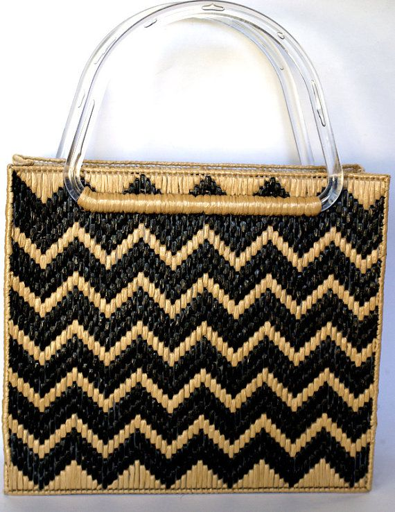 Woven Chevron Tote by MidCenturecycled on Etsy, $16.00