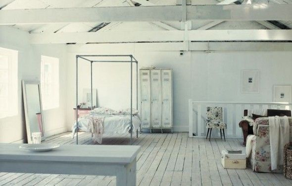 The Whites - Shabby chic Loft Bedrooms in shades of whites and chandeliers to boot.  - NOMADIC TRADING COMPANY