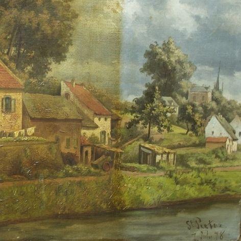 verwijderen van de oude vergeelde vernislaag. Zicht op Sint Pieter Maastricht