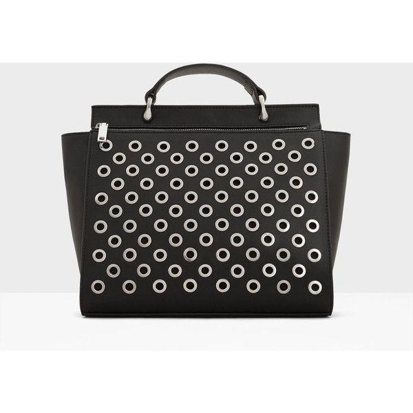 MANGO Decorative Studs Bag ($50) ❤ liked on Polyvore featuring bags, handbags, black, shoulder strap bags, mango handbags, long handbags, embellished purses and studded purse