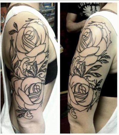flower/rose tattoo outline from Heart & Dagger Tattoo Parlor in Albany, GA