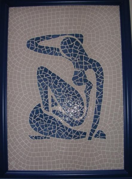 reproduction d'un bleu de Matisse.  Réalisé en émaux de Briare, 67h de travail.