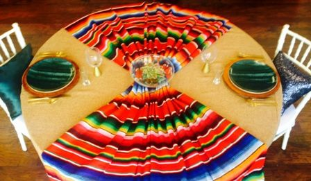 Authentic Serape Blankets add the perfect pop of color and texture to any tablescape.