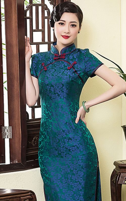 Blue flower green silk cheongsam short sleeve mandarin collar Chinese sheath dress XiYue E605-568 008