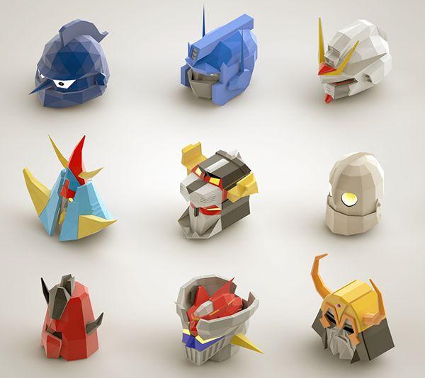"""Voici """"Isometric Giants"""", la réalisation par la technique isométrique des têtes de robots qui ont bercé notre enfance (en tout cas pour certains), c'est très classe et c'est signé Ayteck G, look..."""