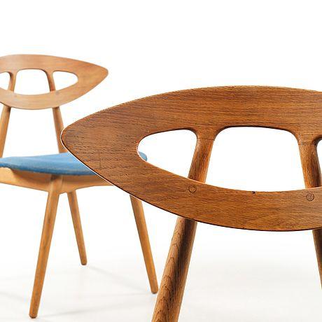 """EJVIND A. JOHANSSON, stolar, ett par, """"84""""/""""Ögat"""", Ivan Gern Møbelfabrik, 1900-talets tredje kvartal."""