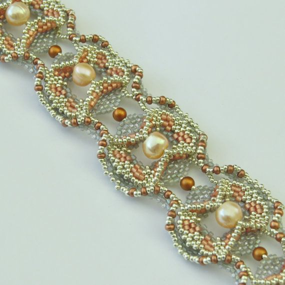 Curved and Layered Beaded Bracelet Tutorial by Beadebonair