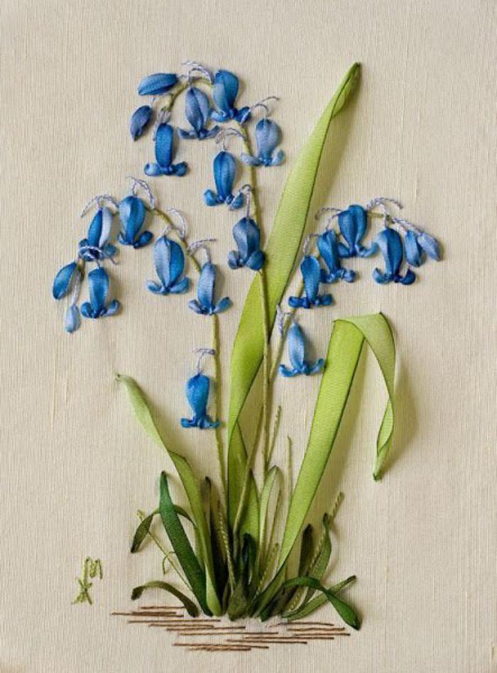 broderie au ruban, hyacinthe brodée
