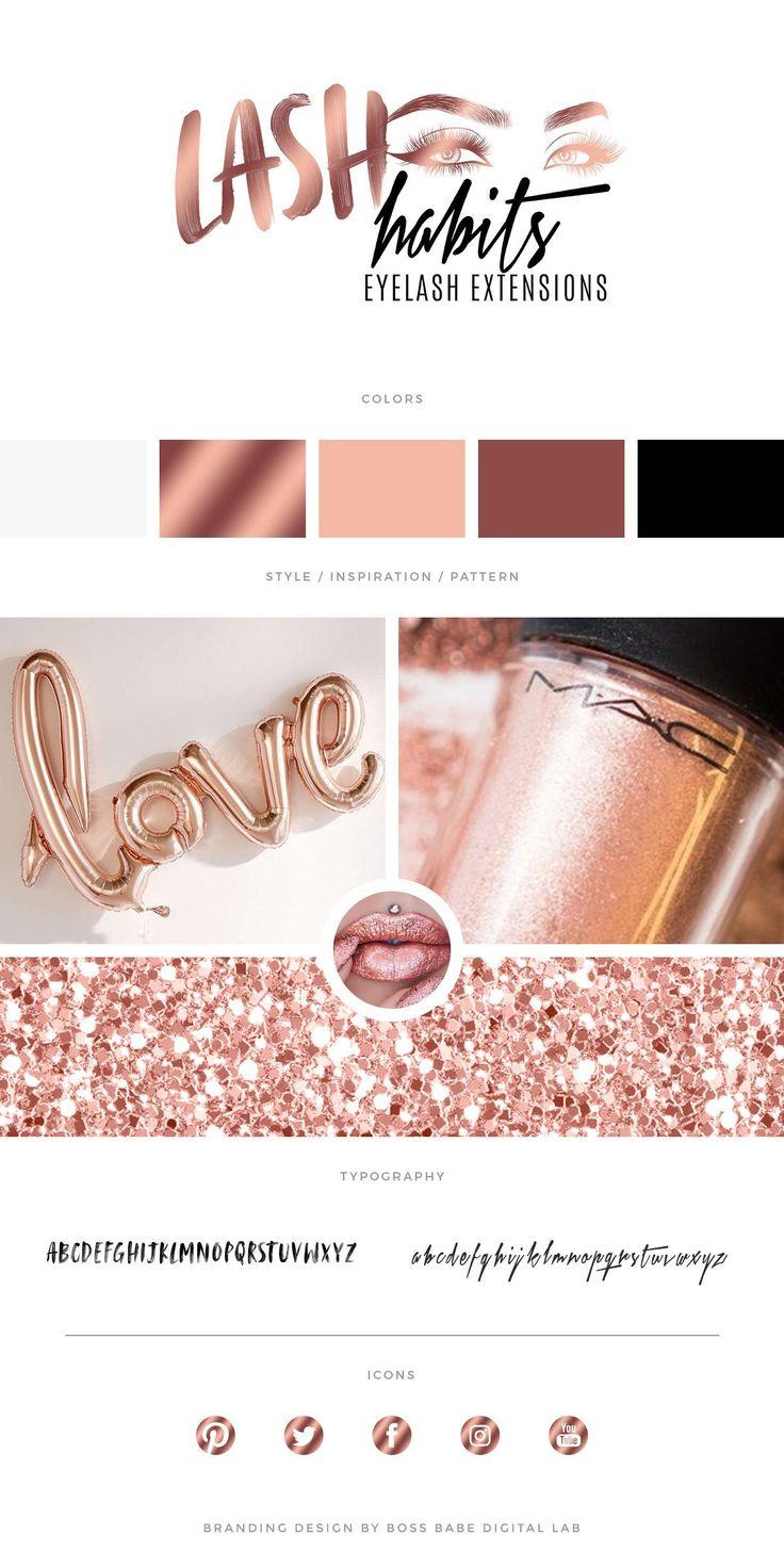 Rose Gold Eyelash Technician Hair Extensions Logo Design