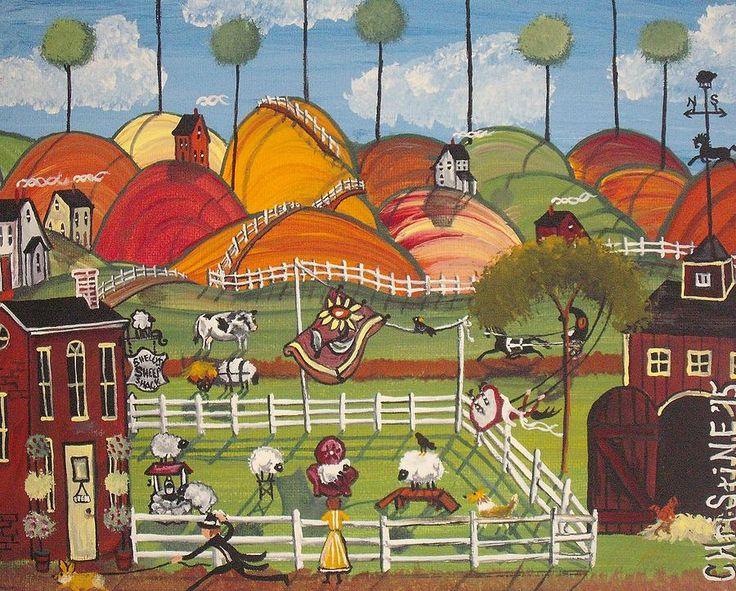 Sheep Painting - Shellys Sheep Shack by Christine Janeway