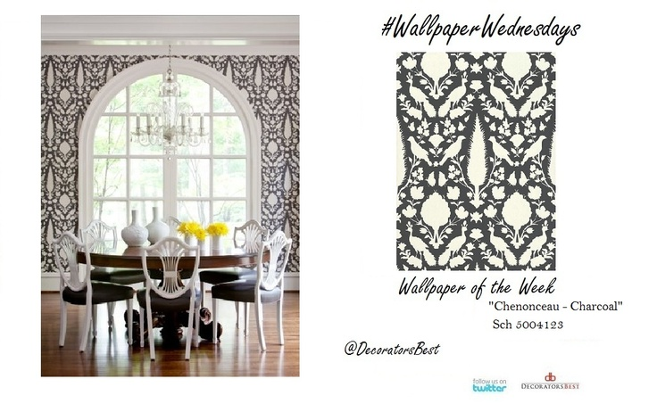 Schumacher chenonceau charcoal wallpaper decor for Schumacher chenonceau charcoal wallpaper