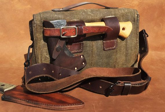 Leather And Waxed Canvas Bushcraft Bag Leather Projects