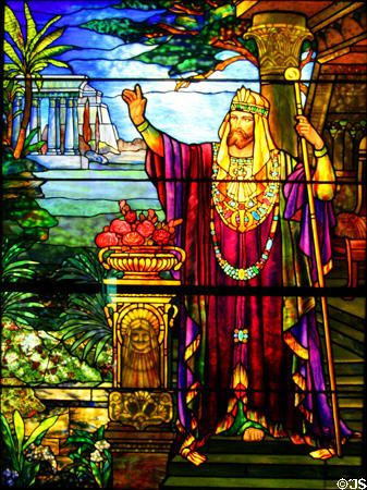 Stained glass window (c1900) of King Solomon son of King David, the forefather of Jesus Christ, the Messiah.by Tiffany Studios at Stained Glass Museum. Chicago, IL