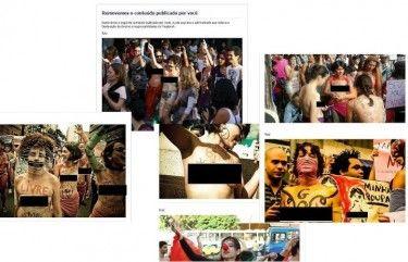 """Pouco após a grande divulgação de fotos das Marchas das Vadias que ocorreram em várias cidades do Brasil nos dias 26 e 27 de maio, surgiram várias denúncias de que fotos de mulheres com os seios à mostra, em sinal de protesto contra o machismo que denunciavam, estavam sendo deletadas pelo Facebook por """"violar a declaração de direitos e responsabilidades"""" para com o serviço online."""