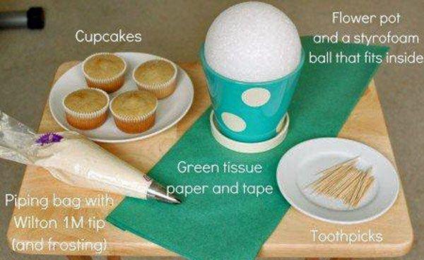 how to make styrofoam cupcake stand