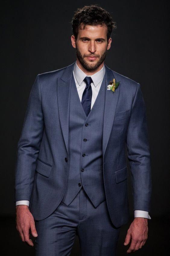 2017 Latest Coat Pant Designs Navy Blue Men Suit Slim Fit Skinny 3 ...