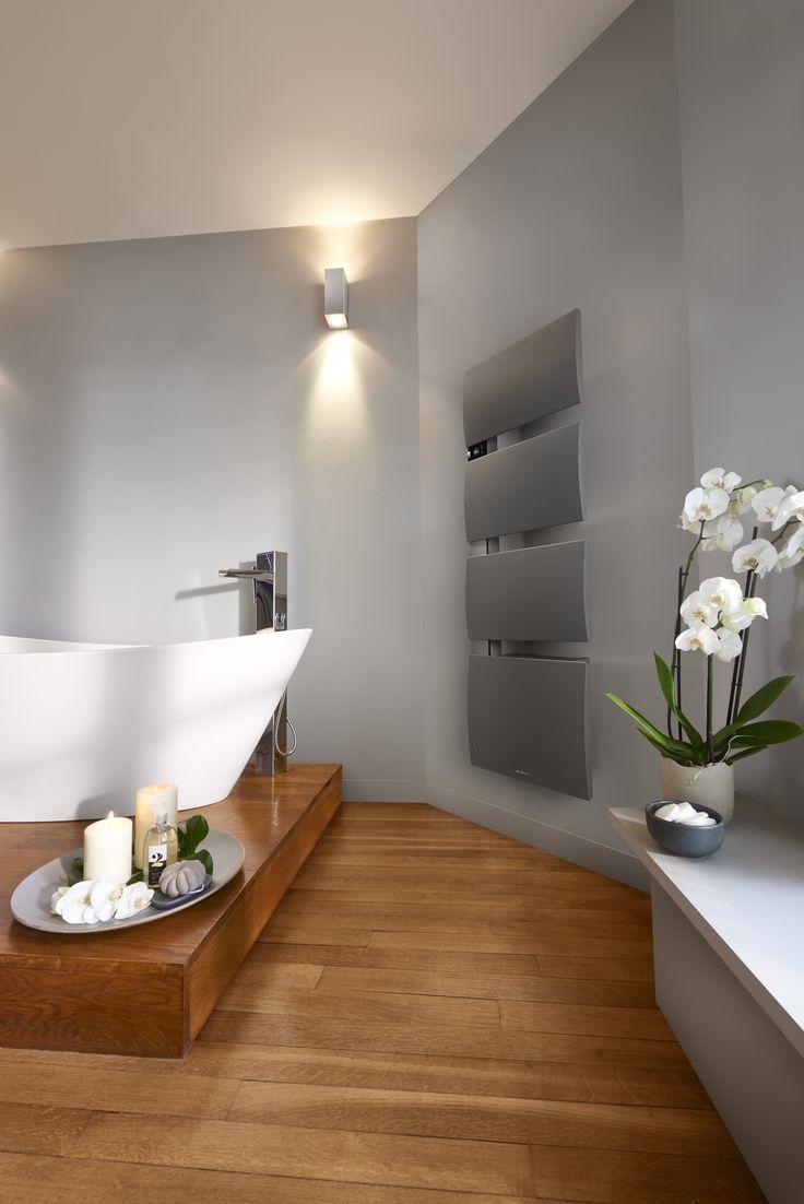 Sèche-serviettes design Gris Roche  finition alu brossé #designsalledebains