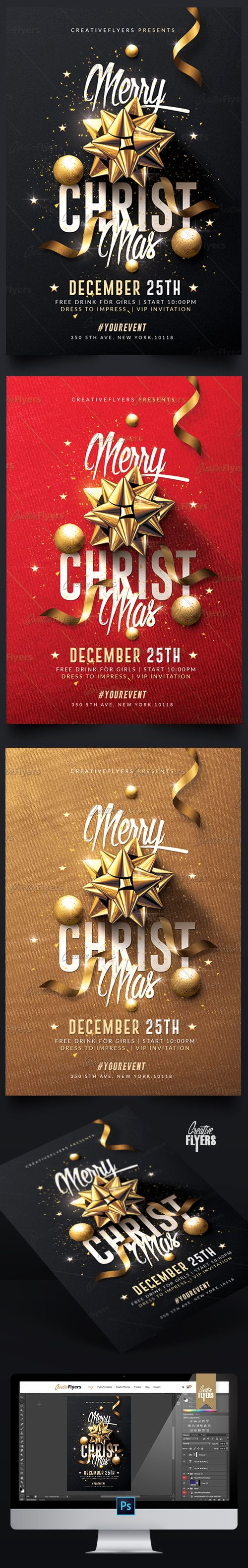 company christmas party invitation templates%0A   CLASSY CHRISTMAS   Flyer Templates   Enjoy downloading the Premium  Photoshop PSD Flyer