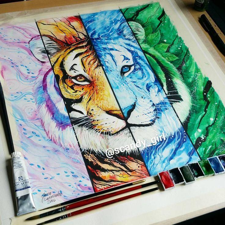 VERKAUFT. Element Tiger fertig! 😊 dachte, es würde Spaß machen, alle Elemente an einem Tier zusammenzufassen, und es hat viel Spaß gemacht, daran zu arbeiten! Hoffe es gefällt euch! …