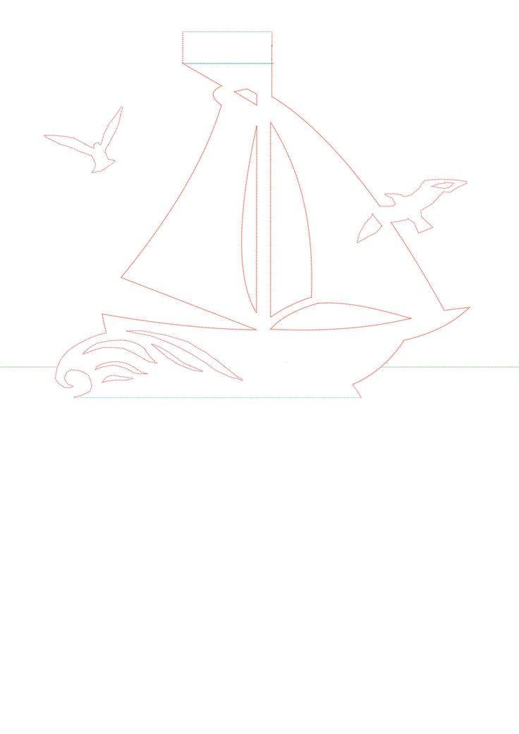 Шаблон для открытки кораблик