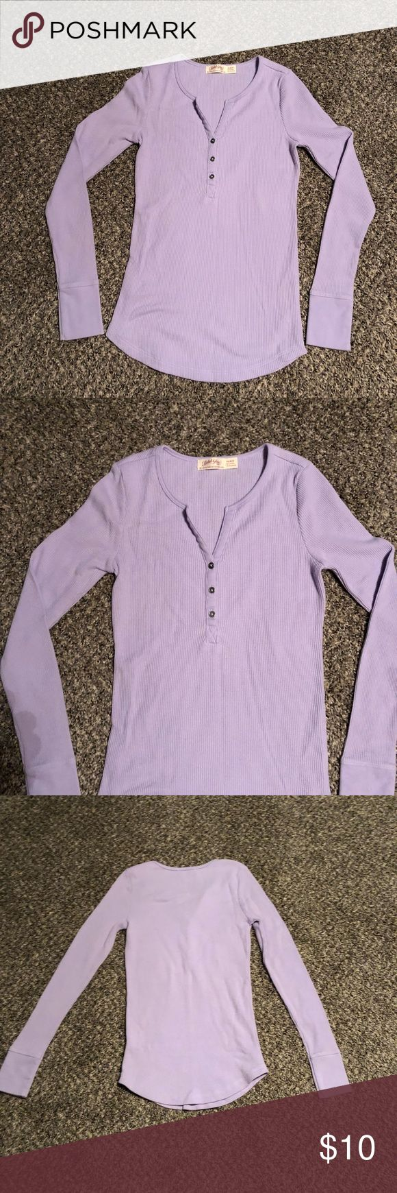 Faded Glory light purple long sleeved top Light purple long sleeved top.  Brand: Faded Glory. Three buttons at neck.  Materials:  60% cotton  40% polyester Size:  XS. 0 - 2  Measurements:  Length:  24 inches  Bust:  12 1/2 inches  Waist:  11 1/2 inches  Listing:   Box: Faded Glory Tops Tees - Long Sleeve