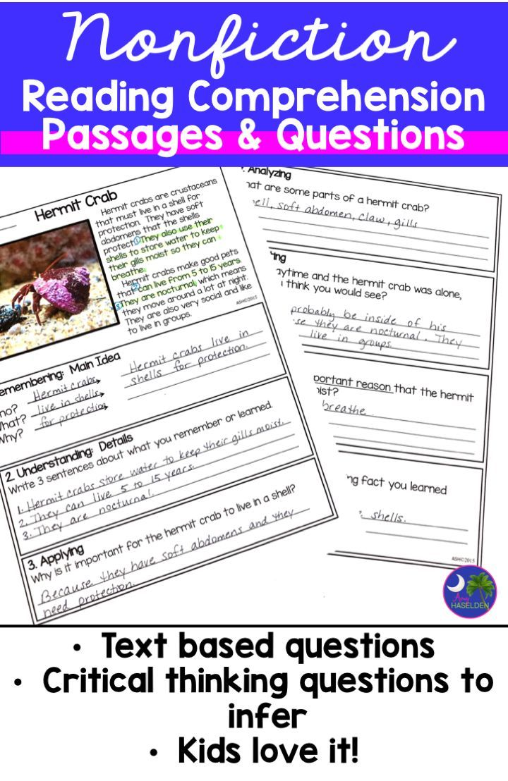 - Nonfiction Reading Passages & Comprehension Questions Print And Go