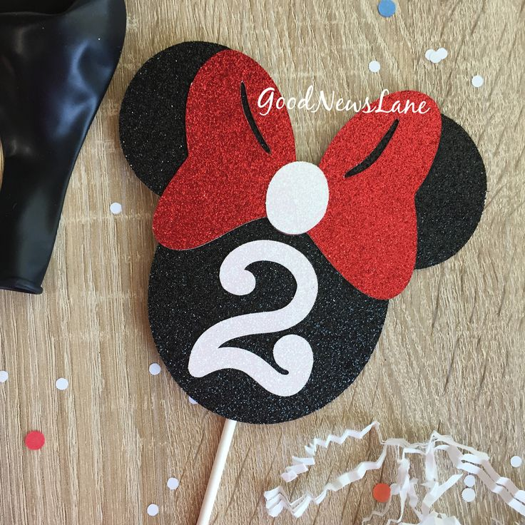 Minnie Mouse Black, Red and White Theme Cake Topper